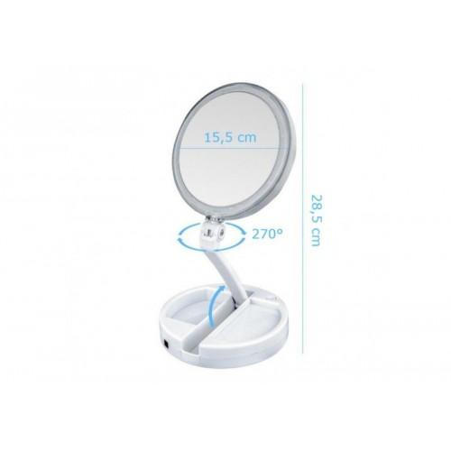 Υπερμεγενθυντικός LED Φωτιζόμενος Πτυσσόμενος Καθρέφτης Διπλής Όψεως - My Fold Away Mirror